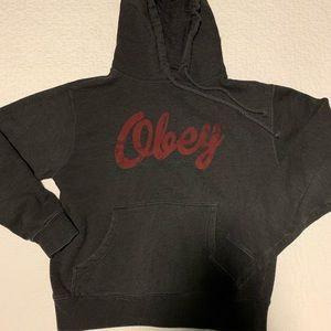 Obey Gray and Red Hoodie Size Small